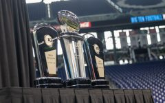 The Big Ten Championship Trophy is shown during day one of Big Ten Media Days at Lucas Oil Stadium in Indianapolis, Indiana, on Thursday, July 22.