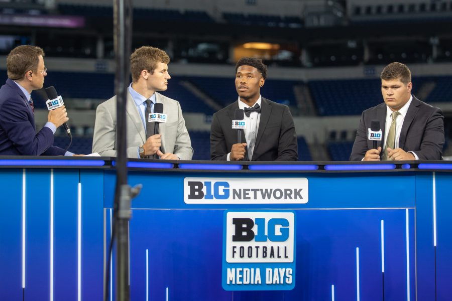 Iowa players Zach VanValkenburg, Tyrone Tracy Jr., and Tyler Linderbaum discuss Iowa football on Big Ten Network during day two of Big Ten Media Days at Lucas Oil Stadium in Indianapolis, Indiana, on Friday, July 23.
