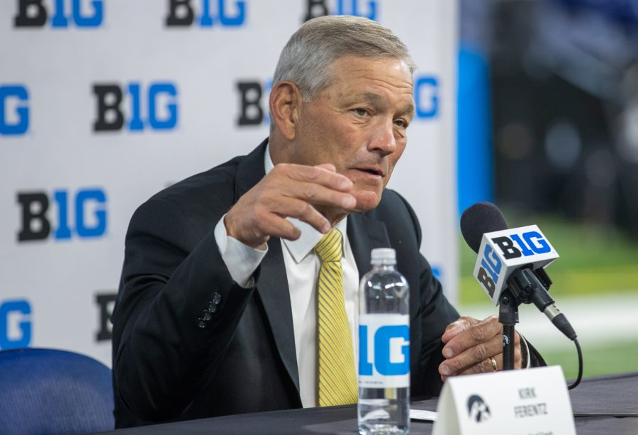 Iowa head coach Kirk Ferentz answers reporters during day two of Big Ten Media Days at Lucas Oil Stadium in Indianapolis, Indiana, on Friday, July 23. Ferentz said the vaccine is optional for the Hawkeyes and they won't force players to do something they are uncomfortable with.