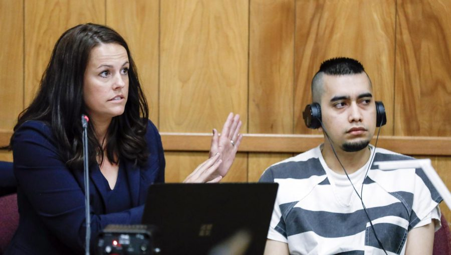Cristhian Bahena Rivera sits beside defense attorney Jennifer Frese as she explains the defenses motion to compel on Thursday, July 15, 2021. A hearing on the motion for a new trial will be July 22, 2021. (Jim Slosiarek/The Gazette)
