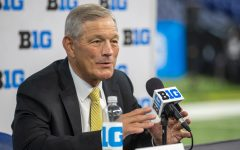 Iowa head coach Kirk Ferentz answers a question during day two of Big Ten Media Days at Lucas Oil Stadium in Indianapolis, Indiana, on Friday, July 23. (Jerod Ringwald/The Daily Iowan)