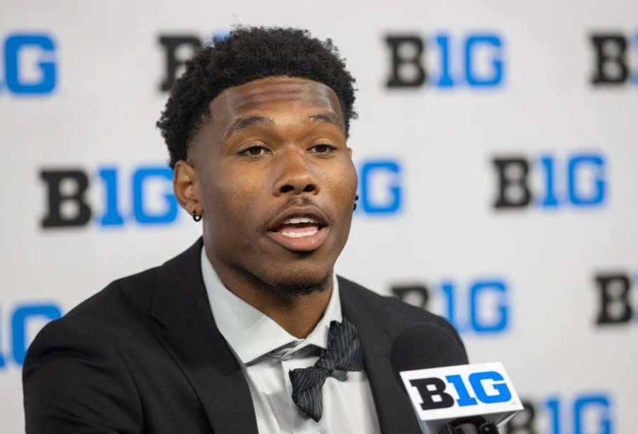 Iowa wide receiver Tyrone Tracy Jr. answers questions during day two of Big Ten Media Days at Lucas Oil Stadium in Indianapolis, Indiana, on Friday, July 23. (Jerod Ringwald/The Daily Iowan)
