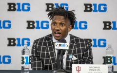 Indiana quarterback Michael Penix Jr. answers questions during day two of Big Ten Media Days at Lucas Oil Stadium in Indianapolis, Indiana, on Friday, July 23. (Jerod Ringwald/The Daily Iowan)