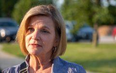Iowa State Sen. Liz Mathis talks with media during Iowa House Rep. Christina Bohannon's birthday celebration in Iowa City on Friday, July 2, 2021.  (Jerod Ringwald/The Daily Iowan)