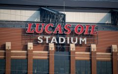 Lucas Oil Stadium is seen in Indianapolis, Indiana, on Thursday, July 22, 2021.  (Jerod Ringwald/The Daily Iowan)