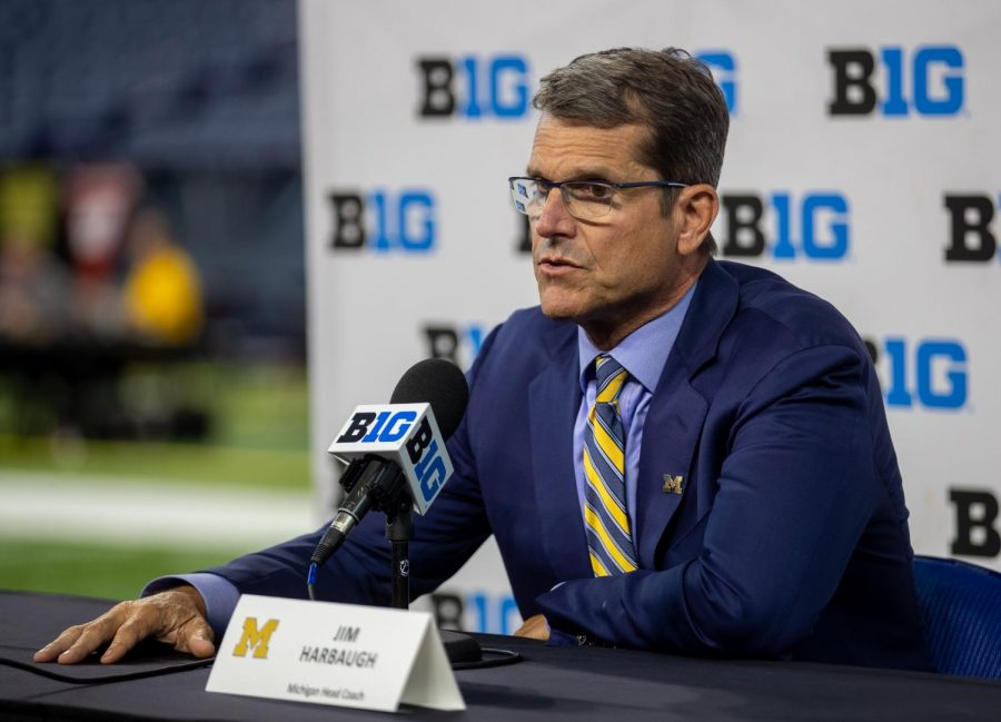 Michigan head football coach Jim Harbaugh speaks during Day 1 of the 2021 Big Ten Media Days at Lucas Oil Stadium in Indianapolis, Indiana, on July 22.