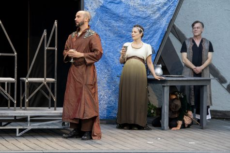 """King Leontes, played by Martin Andrews, acts out a scene from the play """"The Winters Tale"""" on Saturday, July 17, 2021. The Shakespeare play was put on by Riverside Theatre."""