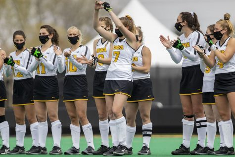Iowa midfielder Ellie Holley gives a heart to the fans before the Big Ten field hockey tournament quarterfinals against No. 4 Maryland on Wednesday, April 21, 2021 at Grant Field. Holley scored Iowa