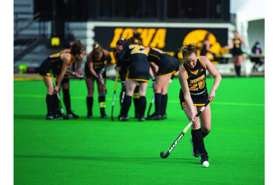 Iowa Forward Maddy Murphy walks the ball to the corner before a penalty corner during a field hockey game between Iowa and Michigan State at Grant Field on Friday, March 26, 2021. The Hawkeyes defeated the Spartans 5-0.