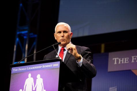 Former Vice President Mike Pence addresses the crowd during The Family Leadership Summit in Des Moines on Friday, July 16, 2021.