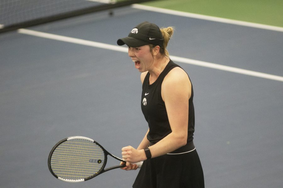 UIs Samantha Mannix cheers after defeating the Nebraska Huskers 4-2 at the womens tennis meet on Sunday, March 28, 2021. The meet was the labeled as senior day, which was also the 2021 home finale meet.