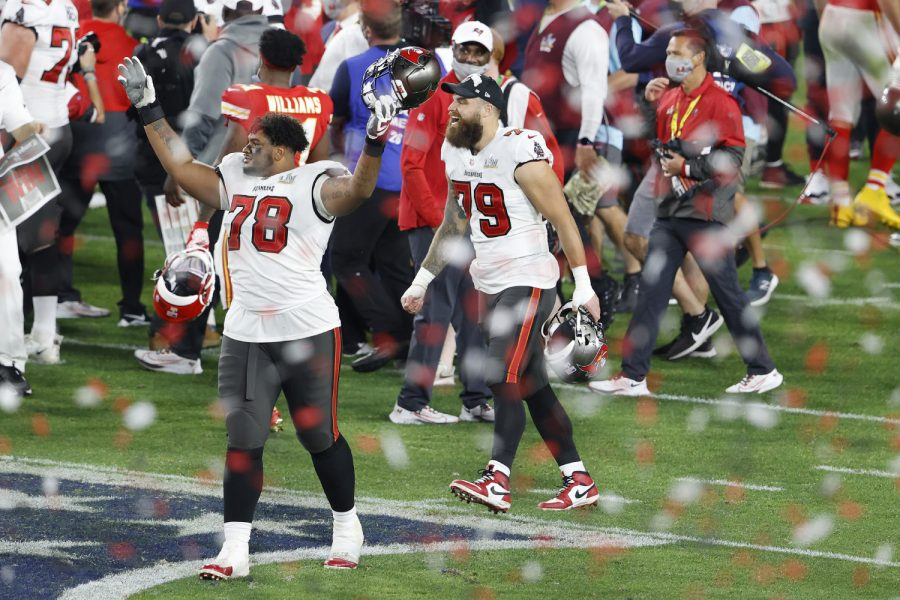 Feb 7, 2020; Tampa, FL, USA; Tampa Bay Buccaneers offensive tackle Tristan Wirfs (78) and defensive end Pat OConnor (79) celebrate after defeating the Kansas City Chiefs  in Super Bowl LV at Raymond James Stadium.  Mandatory Credit: Kim Klement-USA TODAY Sports