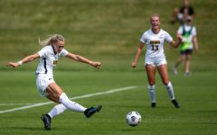 Iowa midfielder Hailey Rydberg scores a goal during a soccer game between Iowa and South Dakota on Aug. 7, 2021, at the Iowa Soccer Complex. The Hawkeyes defeated the Coyotes, 3-0.