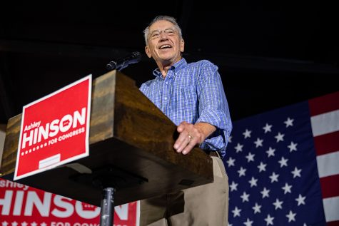 U.S. Sen. Chuck Grassley (R-Iowa) speaks to a crowd on Saturday, Aug. 28, 2021 at Ashley Hinson's BBQ Bash at Linn County Fairgrounds. Grassley acknowledged the work that Hinson has done.