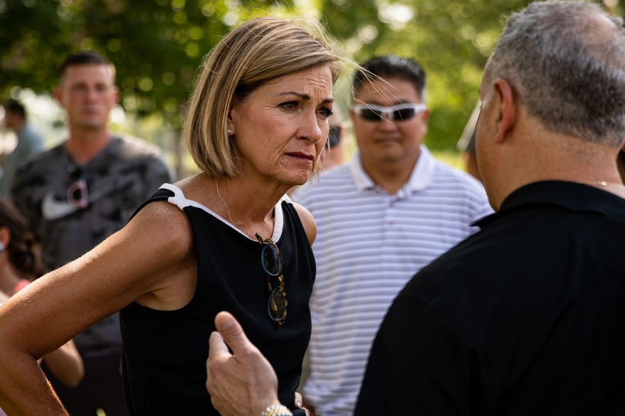 Gov.+Kim+Reynolds+%28R-Iowa%29+listens+to+people+after+Ashley+Hinson%E2%80%99s+BBQ+Bash+on+Saturday%2C+Aug.+28%2C+2021+at+Linn+County+Fairgrounds.+