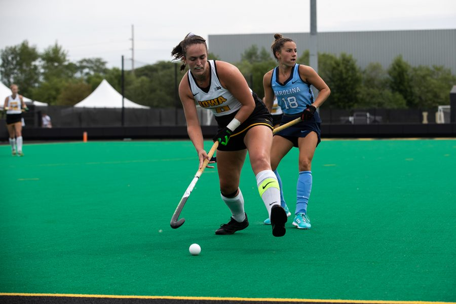 Iowa middle forward, Nikki Freeman looks to shoot the ball during the Iowa field hockey game against North Carolina at Grant Field on Sunday, Aug. 29, 2021. The Hawkeyes defeated the Tar Heels with a score of 3-1.