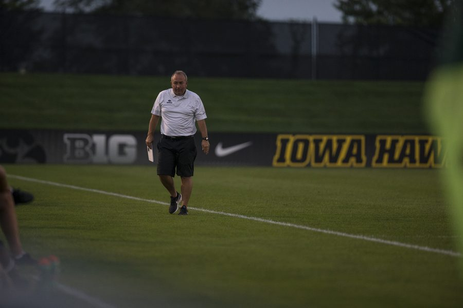 Iowa head coach Dave DiIanni paces the sidelines during the Iowa vs. Purdue soccer game on Sept. 20, 2018 at the Iowa Soccer Complex in Iowa City. Iowa tied Purdue 1-1 in overtime.