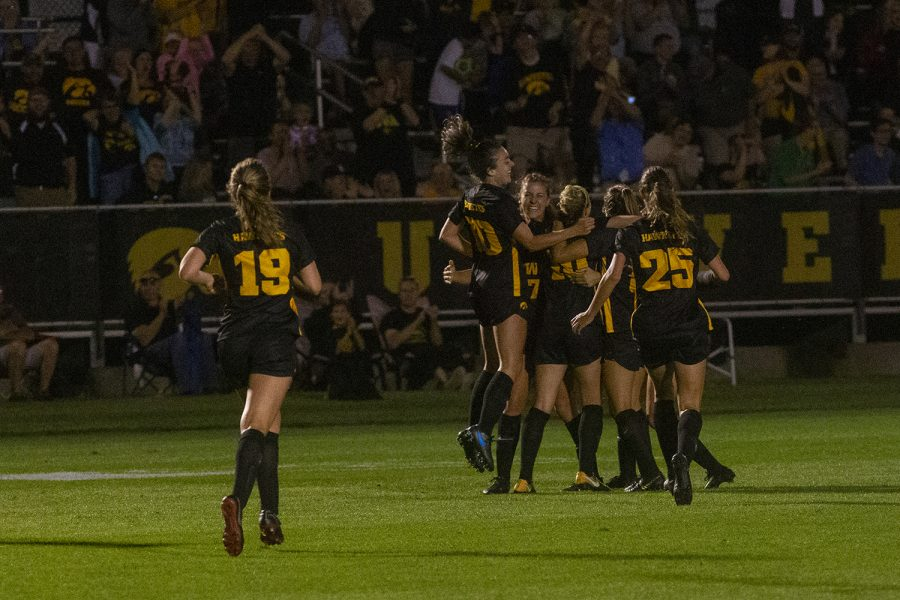 Iowa players celebrate a goal during a women's soccer match between Iowa and Iowa State on Thursday, August 29, 2019 at the Iowa Soccer Complex. The Hawkeyes defeated the Cyclones, 2-1.