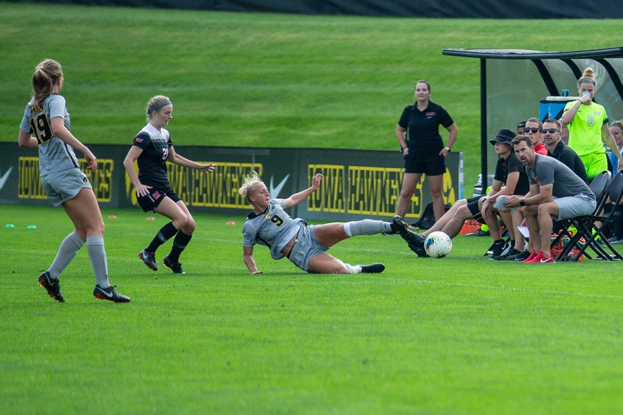 Iowa defender Samantha Cary tries to keep the ball in play during Iowas match against Illinois State on Sunday, September 1, 2019. The Hawkeyes defeated the Red Birds 4-3.