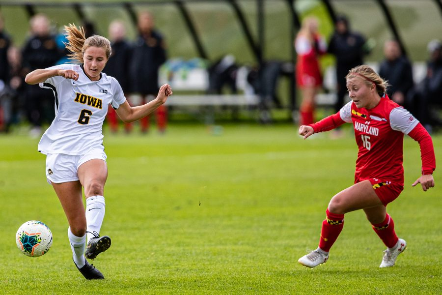 Iowa midfielder Isabella Blackman runs down the field during a womens soccer match between Iowa and Maryland at the Iowa Soccer Complex on Sunday, October 13, 2019. The Hawkeyes shut out the Terrapins, 4-0.