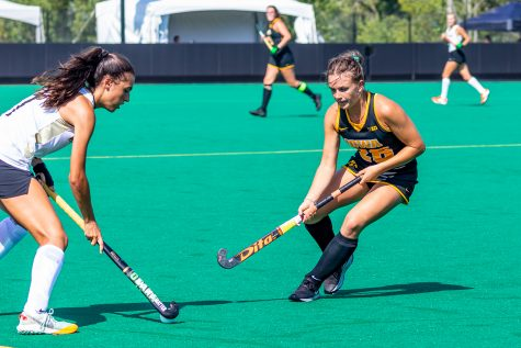 Iowa forward/midfielder Maddy Murphy tries to get position of the ball during the Iowa Field Hockey Big Ten/ACC Challenge game against Wake Forest on Aug. 27, 2021 at Grant Field. Iowa defeated Wake Forest 5-3.