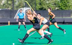 Iowa midfielder/forward Ellie Holley attempts to score a goal during the Iowa Field Hockey Big Ten/ACC Challenge game against Wake Forest on Aug. 27, 2021 at Grant Field. Iowa defeated Wake Forest 5-3.