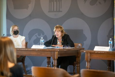 University of Iowa President Barbara Wilson speaks with media during a press conference at the Old Capitol in downtown Iowa City on Monday, Aug. 16.