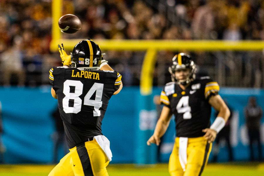 Iowa tight end Sam LaPorta receives a pass during the 2019 SDCCU Holiday Bowl between Iowa and USC in San Diego on Friday, Dec. 27, 2019. The Hawkeyes defeated the Trojans, 49-24.