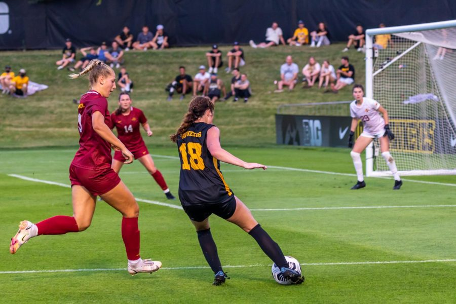 Iowa soccer forward Courtney Powell lines up a shot during a game against Iowa State at the Iowa Soccer Complex in Iowa City on August 26th, 2021. The Hawkeyes defeated the Cyclones, 2-1.