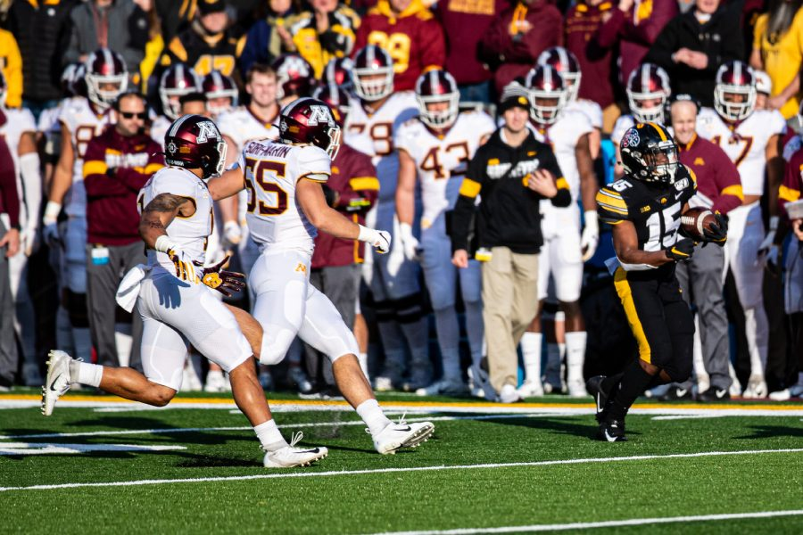 Iowa running back Tyler Goodson carries the ball during a football game between Iowa and Minnesota at Kinnick Stadium on Saturday, Nov. 16, 2019. The Hawkeyes defeated the Gophers, 23-19.