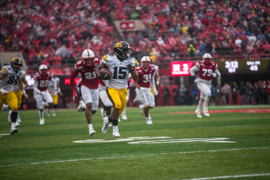 Iowa running back Tyler Goodson carries the ball during the game against Nebraska on Friday, November 29, 2019. The Hawkeyes defeated the Corn Huskers 27-24.