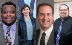 From left: Bruce Teague, Megan Alter, Jason Glass, and Shawn Harmsen. Teague, Alter, and Glass are running for two at-large seats on the Iowa City City Council, and Harmsen is running unopposed for the District B seat.