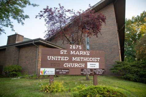 The sign of St. marks United Methodist Church, which hosts Loving Arms Early Learning Center, is seen on Sunday, Aug. 22.