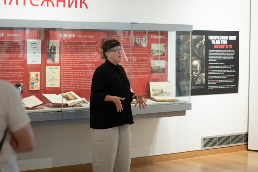 University of Iowa professor Dr. Anna Barker guides visitors through famed Russian author Fyodor Dostoevsky's life at the University of Iowa Main Library Saturday, Aug. 28, 2021.