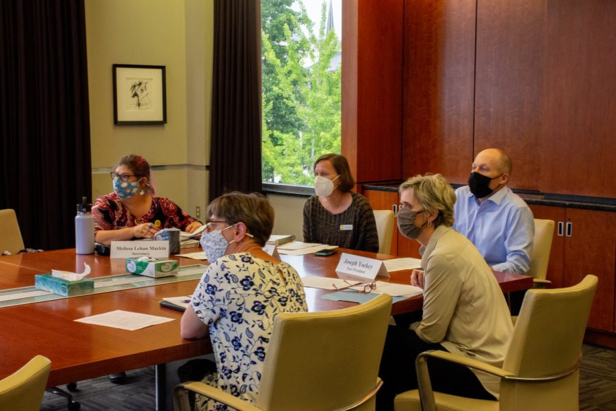 A University of Iowa faculty council meeting is held at the University Capitol Centre in the Old Capitol Mall on Tuesday, Aug. 31, 2021.