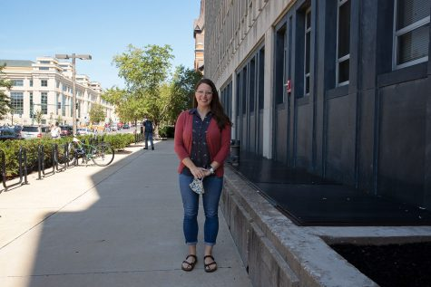ASL Lecture and Program instructor Rebecca Clark poses for a photo outside of Phillips Hall on August 23, 2021.