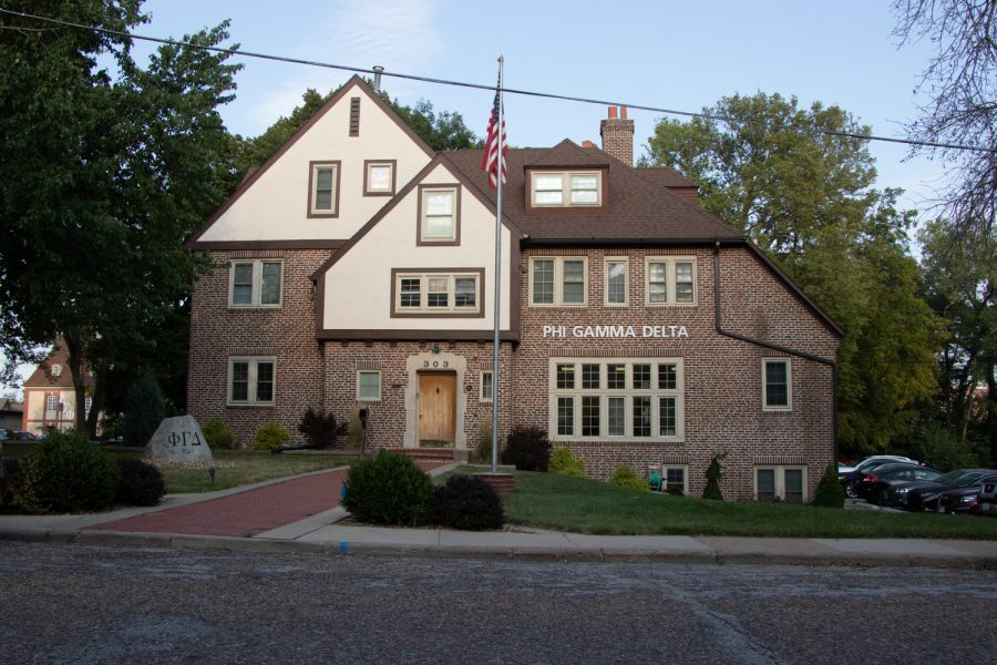 The Phi Gamma Delta house is seen on Monday, Aug. 30, 2021.