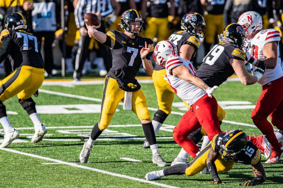 Iowa quarterback Spencer Petras attempts a pass during a football game between Iowa and Nebraska at Kinnick Stadium on Friday, Nov. 27, 2020.