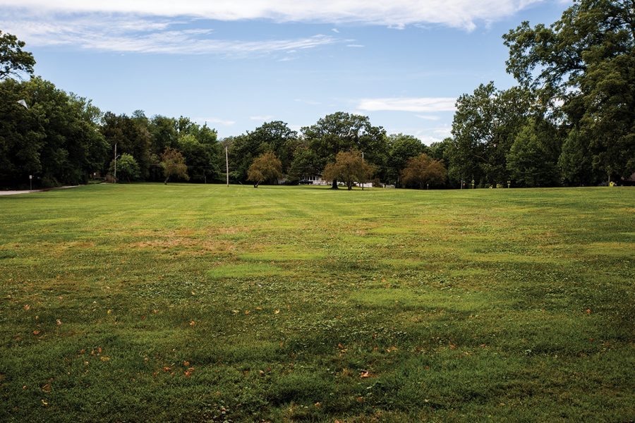 The old marching band practice field is seen on Wednesday, Aug. 25, 2021.