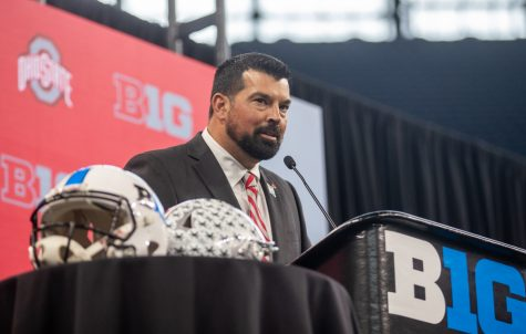Ohio State head coach Ryan Day speaks with reporters during day two of Big Ten Media Days at Lucas Oil Stadium in Indianapolis, Indiana, on Friday, July 23.