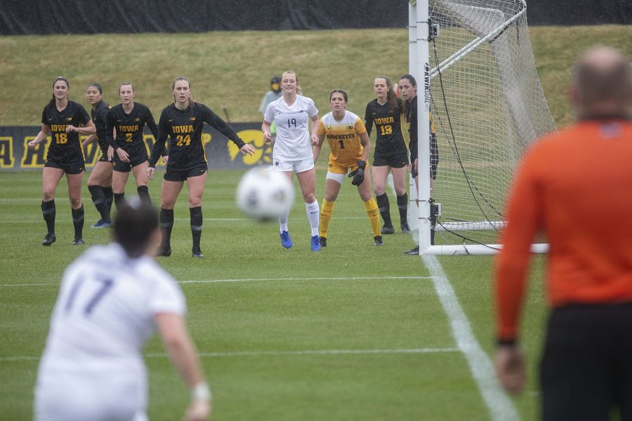 Penn State midfielder, Sam Coffey, kicks the ball during a corner kick during the Iowa women's soccer match v. Penn State at the Iowa Soccer Complex on Thursday, March 25, 2021. The Nittany Lions defeated the Hawkeyes 1-0.