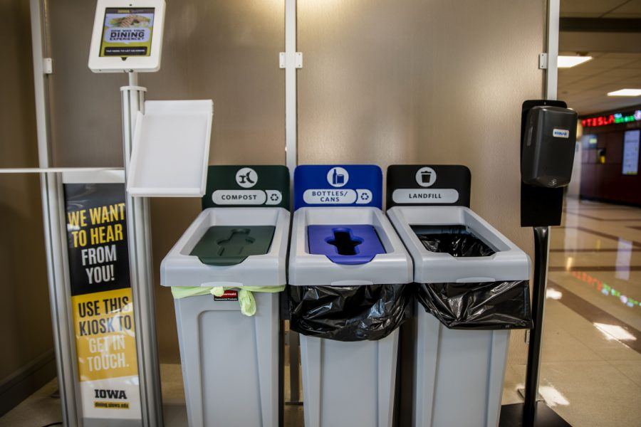 A new green compost bin is seen on Monday, Aug. 30, 2021. The new bin can be found in Pat's Diner which is located in the Tippie College of Business building.
