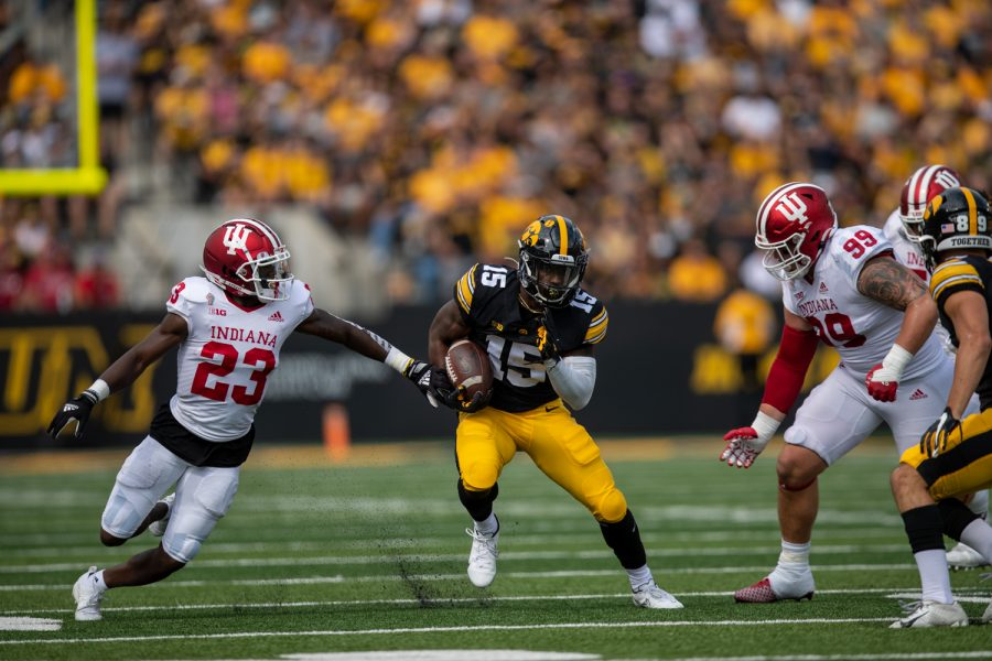 Iowa running back Tyler Goodson cuts into open field during a football game between No. 18 Iowa and No. 17 Indiana at Kinnick Stadium on Saturday, Sept. 4, 2021. (Jerod Ringwald/The Daily Iowan)