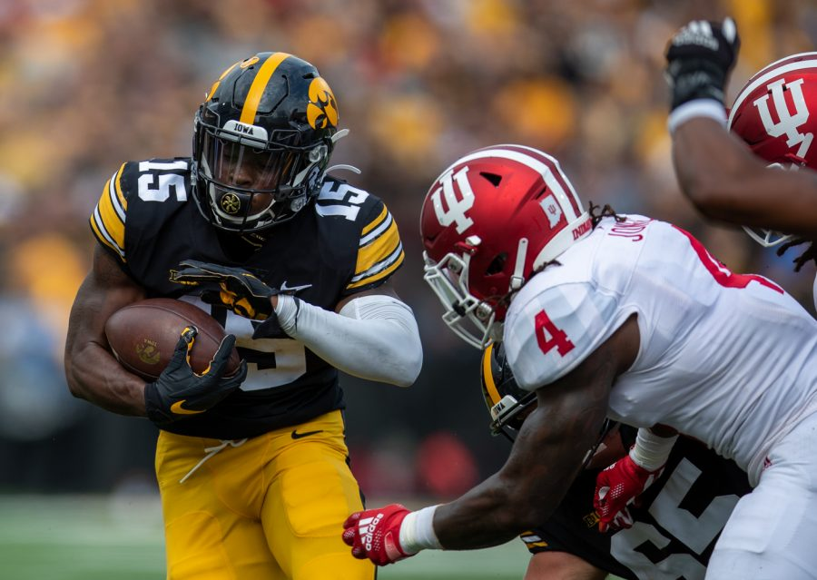 Iowa running back Tyler Goodson cuts to the outside of the field during a football game between No. 18 Iowa and No. 17 Indiana at Kinnick Stadium on Saturday, Sept. 4, 2021. (Jerod Ringwald/The Daily Iowan)