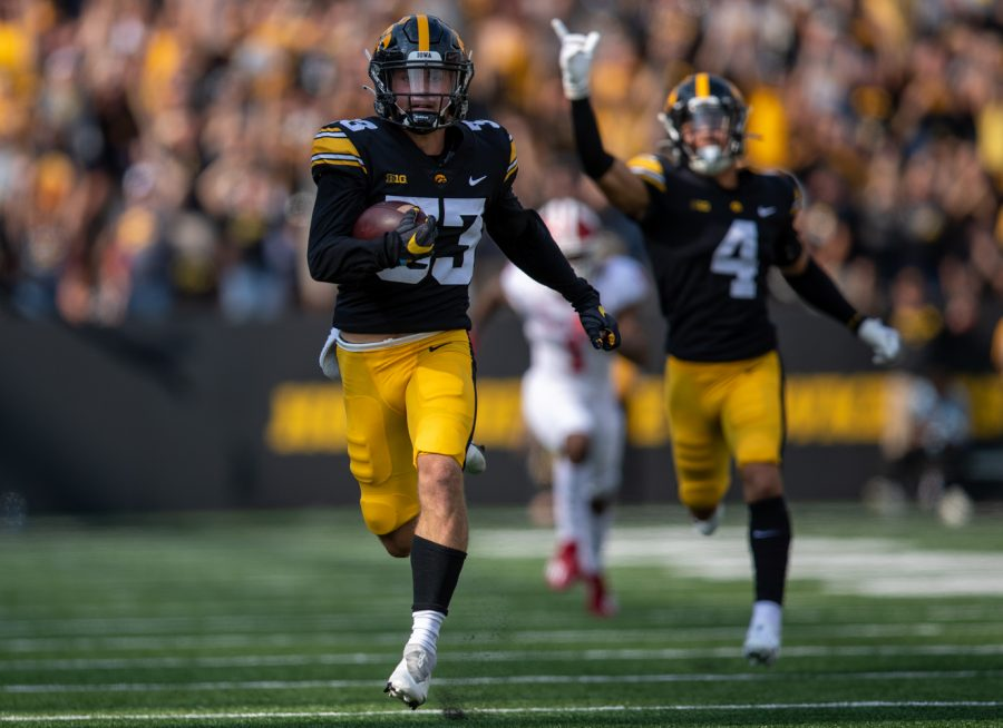 Iowa defensive back Riley Moss returns an interception for his second pick six of the day during a football game between No. 18 Iowa and No. 17 Indiana at Kinnick Stadium on Saturday, Sept. 4, 2021. (Jerod Ringwald/The Daily Iowan)