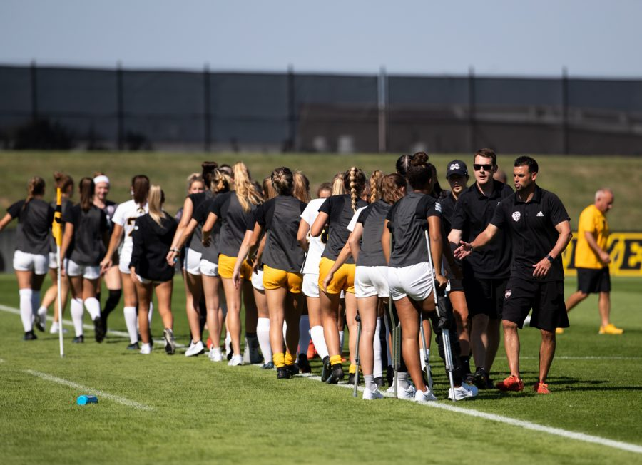 Both Mississippi State and The University of Iowa line up and the end of the game to shake hands at UI Soccer Complex on Sunday, Sept. 5, 2021. The Iowa Hawkeyes and Mississippi State Bulldogs tied 1-1.