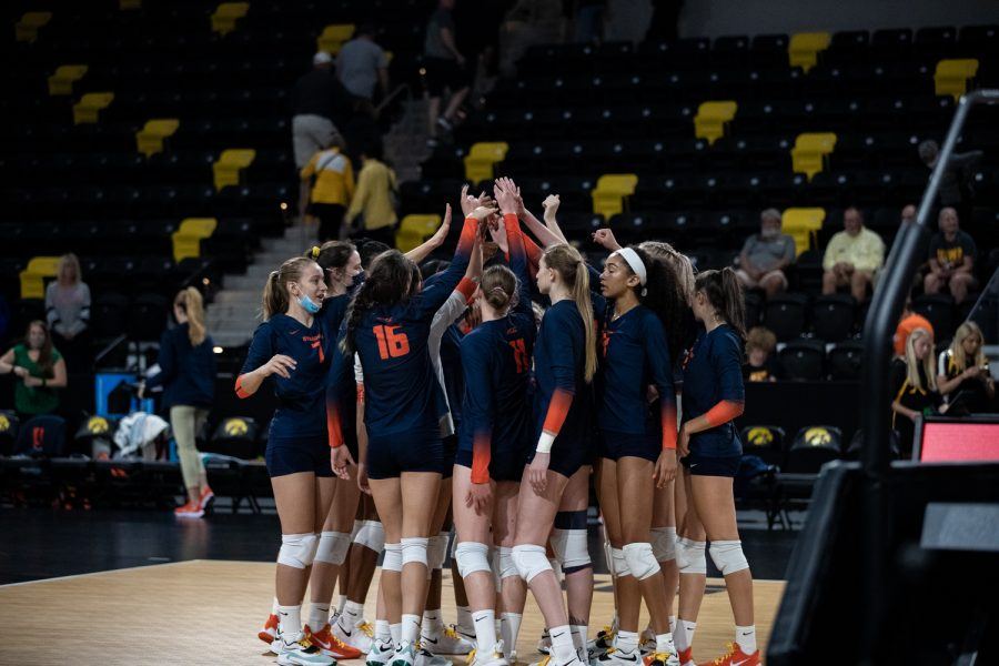 Syracuse huddles up to celebrate their victory at the Xtreme Arena on Thursday, Sept. 9, 2021. Syracuse defeats Iowa 3-1
