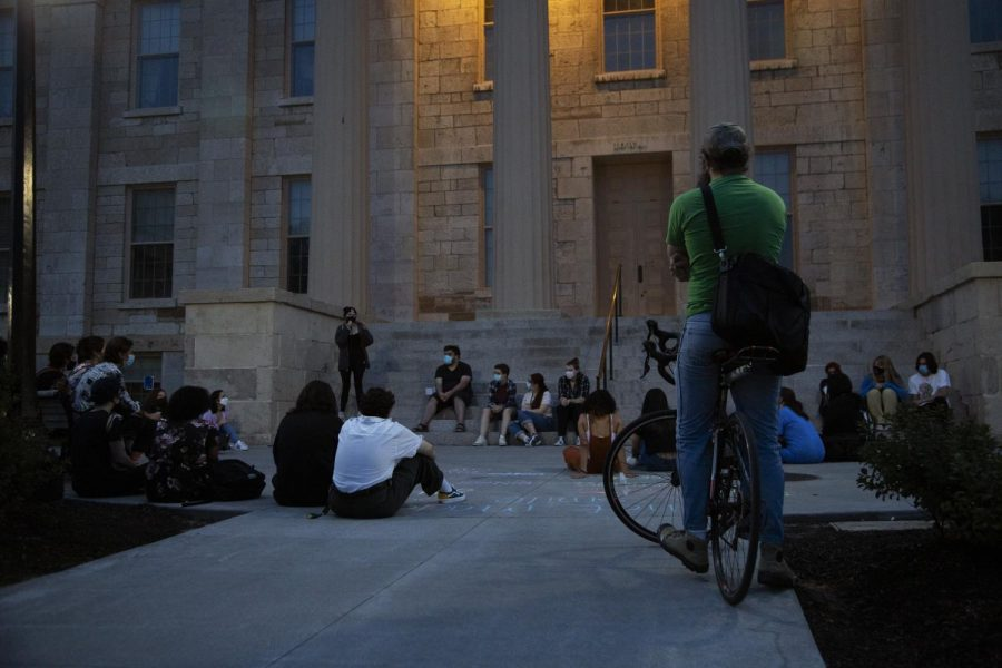 Members of the group Cops Off Campus gather at the Pentacrest Sept. 10.