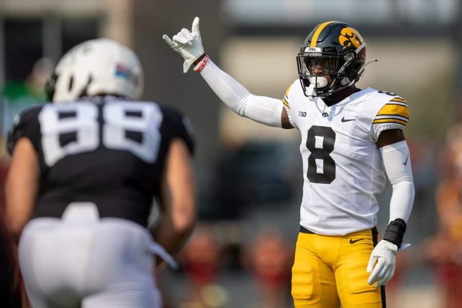 Iowa defensive back Matt Hankins gets set before a play during a football game between No. 10 Iowa and No. 9 Iowa State at Jack Trice Stadium in Ames on Saturday, Sept. 11, 2021. (Jerod Ringwald/The Daily Iowan)