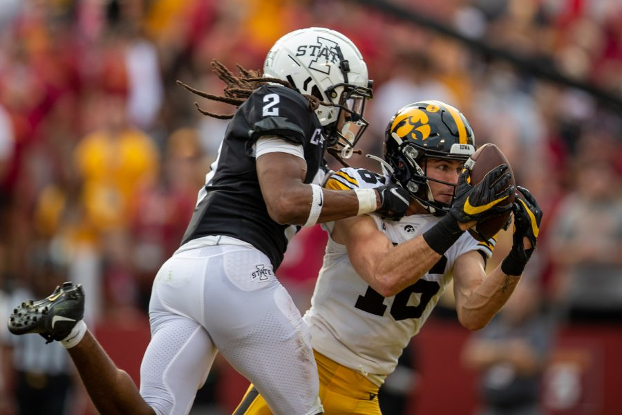 Iowa wide receiver Charlie Jones catches a ball for a touchdown during a football game between No. 10 Iowa and No. 9 Iowa State at Jack Trice Stadium in Ames on Saturday, Sept. 11, 2021. (Jerod Ringwald/The Daily Iowan)
